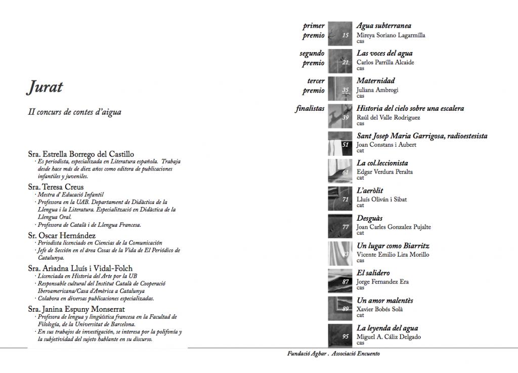 Pàgina de Jurat i index del llibre del II Concurs de Contes de l'Aigua