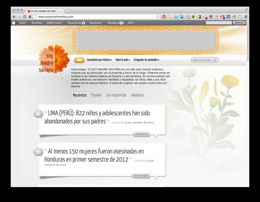 Pàgina principal de la web yosoymadresoltera.com