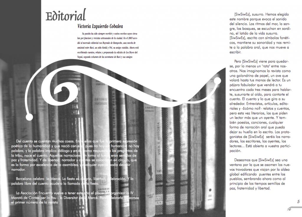 Maquetació de doble pàgina interior del número 1 de la revista Siwsiwez - Editorial