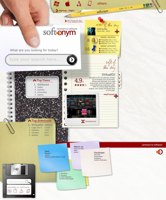 Pàgina d'inici de la web Softonym.com