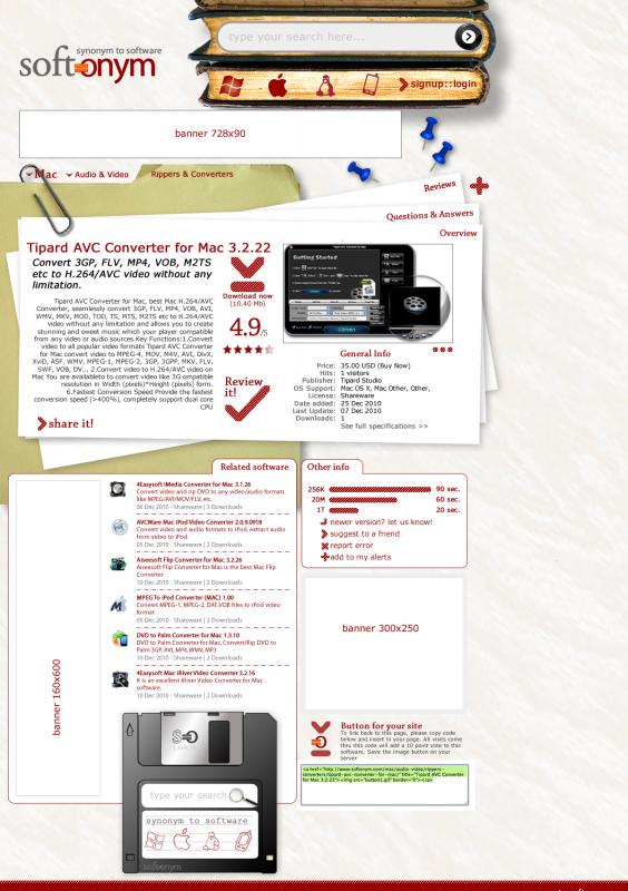Pàgina de producte de la web Softonym.com