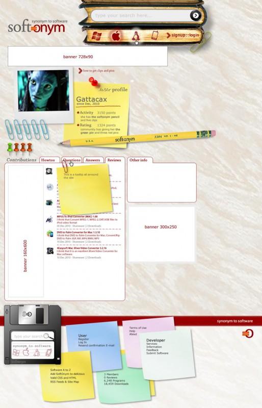 Pàgina de usuari de la web Softonym.com